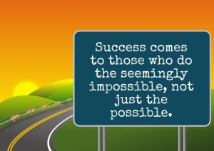 success roadsign impossible sunset